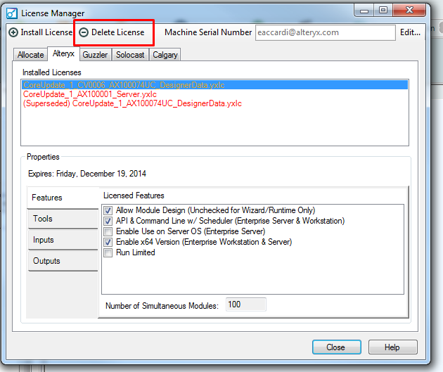 how to delete license from rd license mangaer