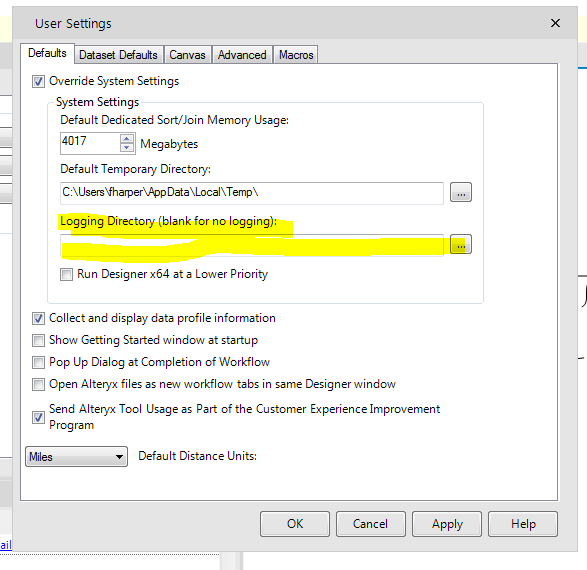 Log File Location and Variables - Alteryx Community