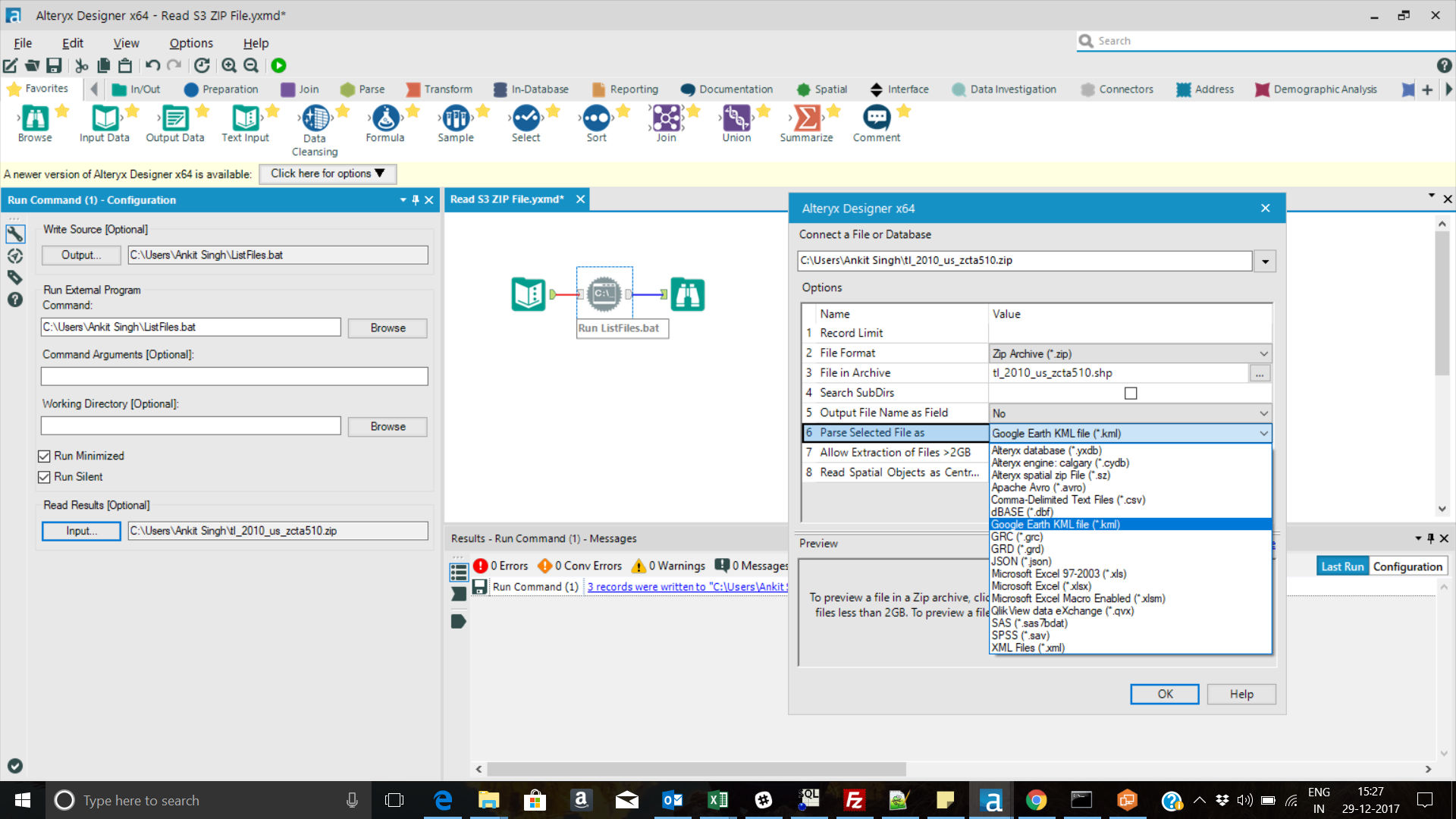 How to open  SHP file present in a zip shape file     - Alteryx