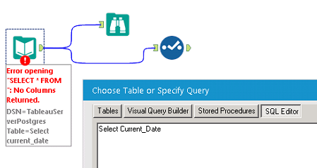 Tableau Server Postgres Select Current_date query