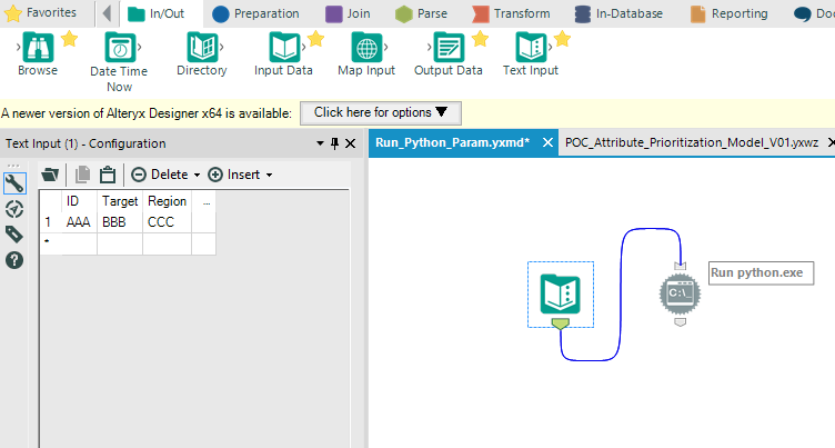 Solved: Pass results as parameters from Alteryx to Python