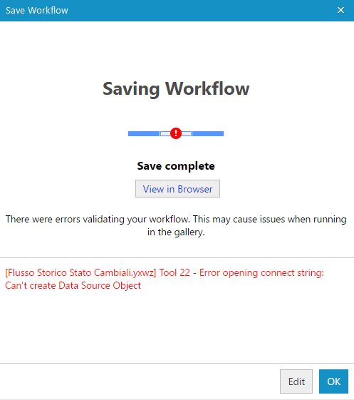 Solved: Error opening connect string: Can't create Data So