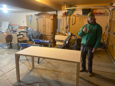 """Demoted to the basement """"office"""" and still smiling. Look at that craftsmanship!"""