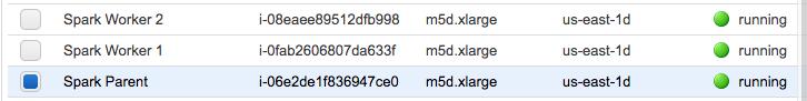 Running instances in EC2 dashboard.