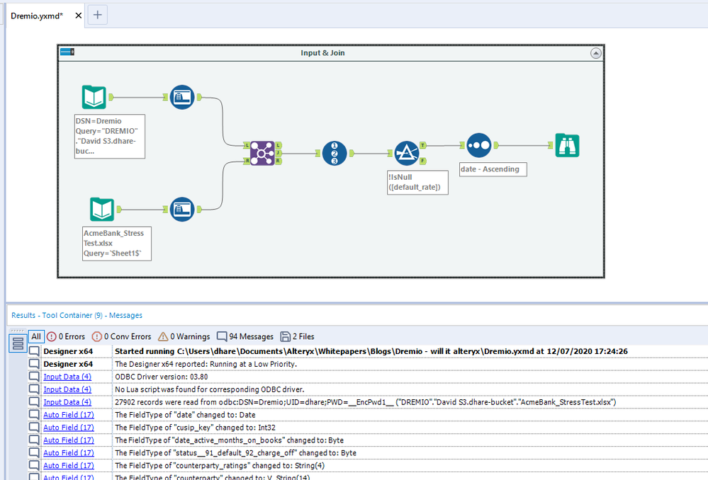 A sample Alteryx workflow joining together a local file with data from Dremio.