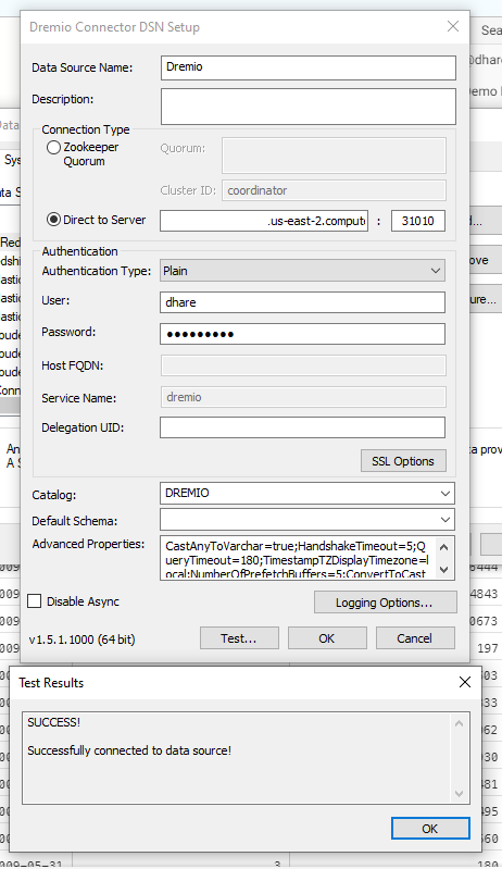 An example ODBC configuration for Dremio.