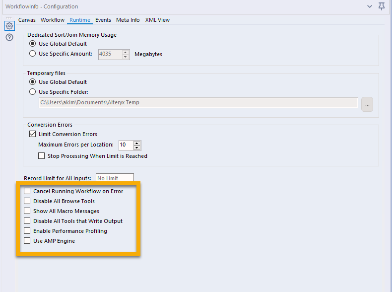 Runtime Configuration Settings