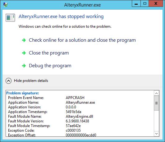 Windows error gets thrown too