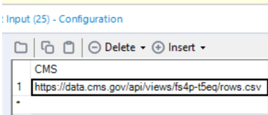 CMS column in the Text Input tool