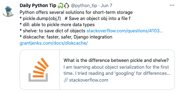 Example of Python tip from Twitter