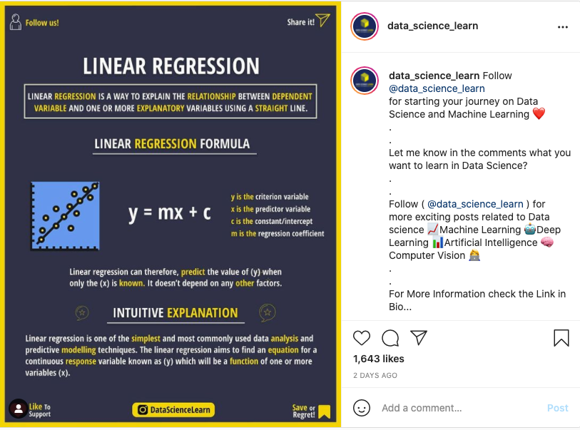 Example of data_science_learn post from Instagram