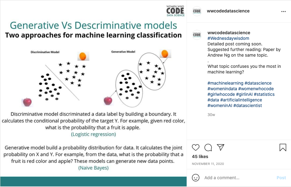 Example of Women Who Code Data Science post from Instagram