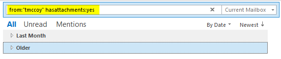 copy the query string from outlook