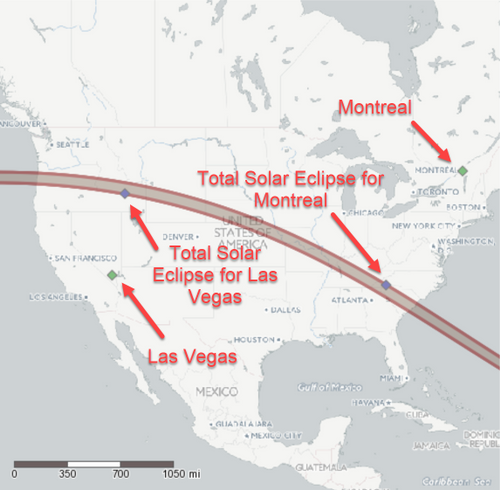 I used Montreal and Las Vegas to give more interesting results.