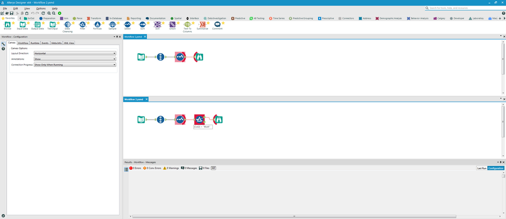 Running the command line tool will open up a new instance of Alteryx with your workflows compared visually.