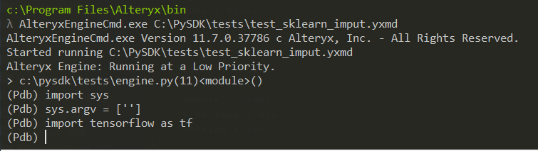 First, we import the sys library.  Then we set the value of the sys.argv attribute to the value we saw in the non-embedded process.  We try to import Tensorflow, and it works.