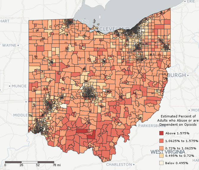 Figure 4: Census Tract Estimates of the Percentage of Individuals Age 18 and Over who Abuse or are Dependent Upon Opioids in Ohio