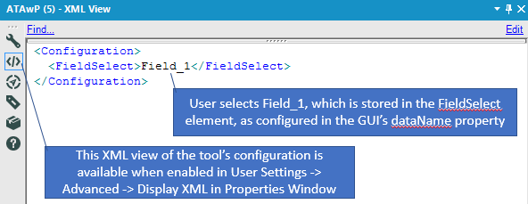 The tool's user configuration is stored in XML and available to the Python script.