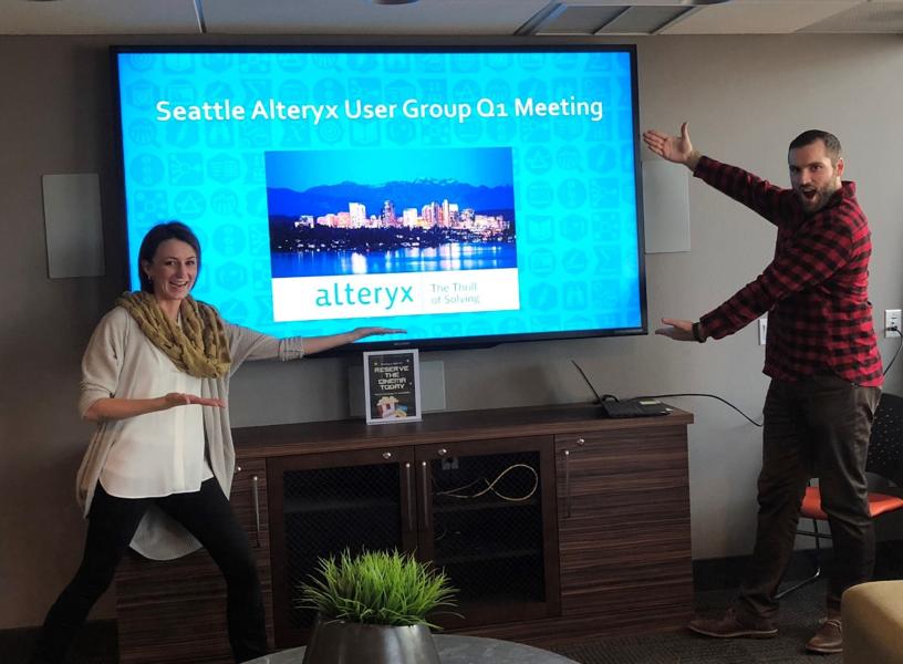 Nicole Johnson & Michael Stead, co-leaders of the Seattle-Eastside Alteryx User Group