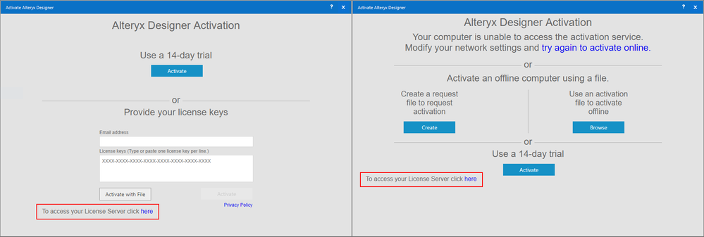 Left: Normal Activation window. Right: The file authentication window is shown when Alteryx has difficulty contacting the activation service.