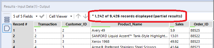 A sample of the data can be seen in the output anchor of each tool.