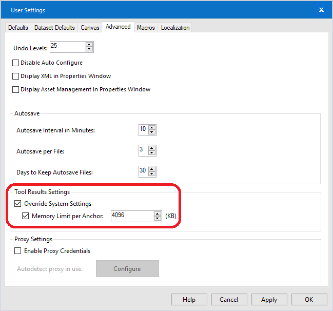 Designer users can override the Memory Limit per Anchor in the Advanced User Settings.