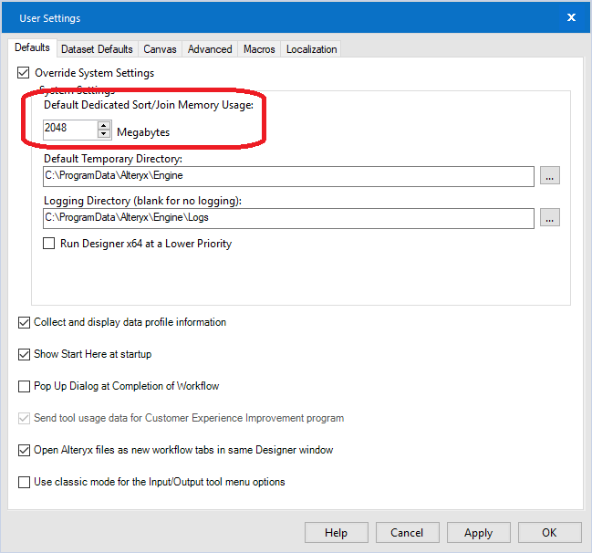 The Default Dedicated Sort/Join Memory Usage setting