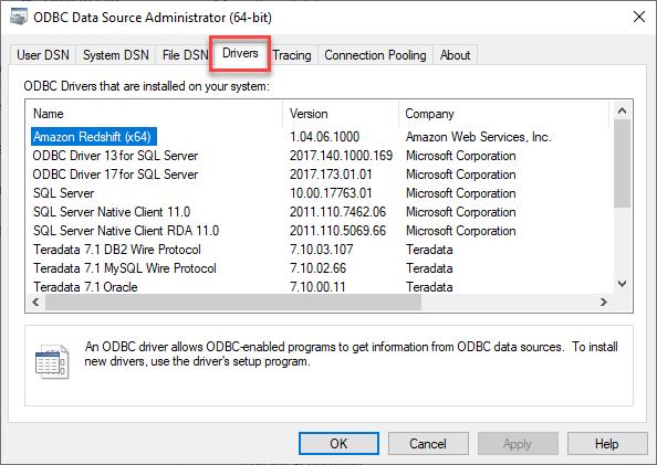 Make sure driver is installed on server