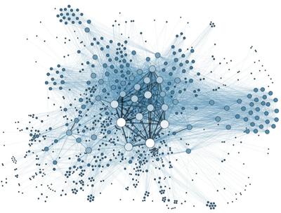 Os círculos maiores mostram onde há mais relacionamentos e os círculos em volta mostram as interligações.