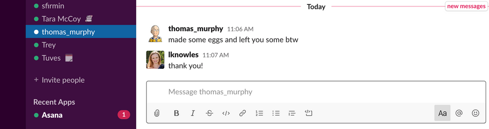 A slack message from the basement. We take separating work from home life very seriously ;-)