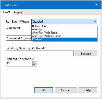 Event Run Options- Multiple scenario options