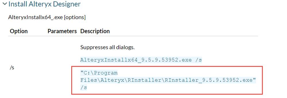 Clarify silent install documentation - Alteryx Community
