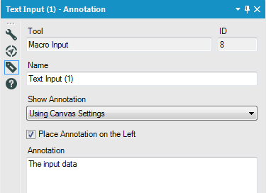 Figure 2: The annotation panel of an Alteryx tool