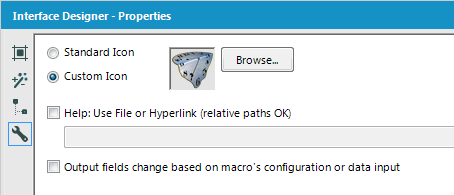 "Figure 3: Using the ""Wrench"" panel of an Alteryx macro to select an icon"