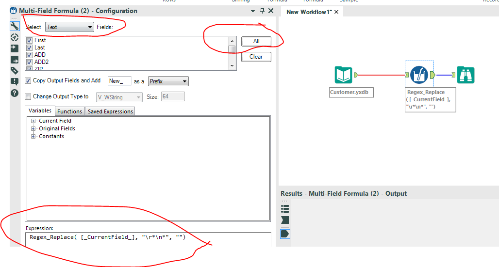 Solved: Remove new line characters - Alteryx Community