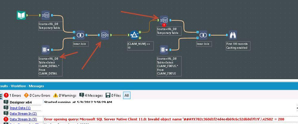 Solved: Data Stream In - Temp table SQL Server - Alteryx