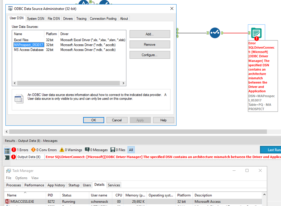 Output Tool DSN Architecture Mismatch - Alteryx Community