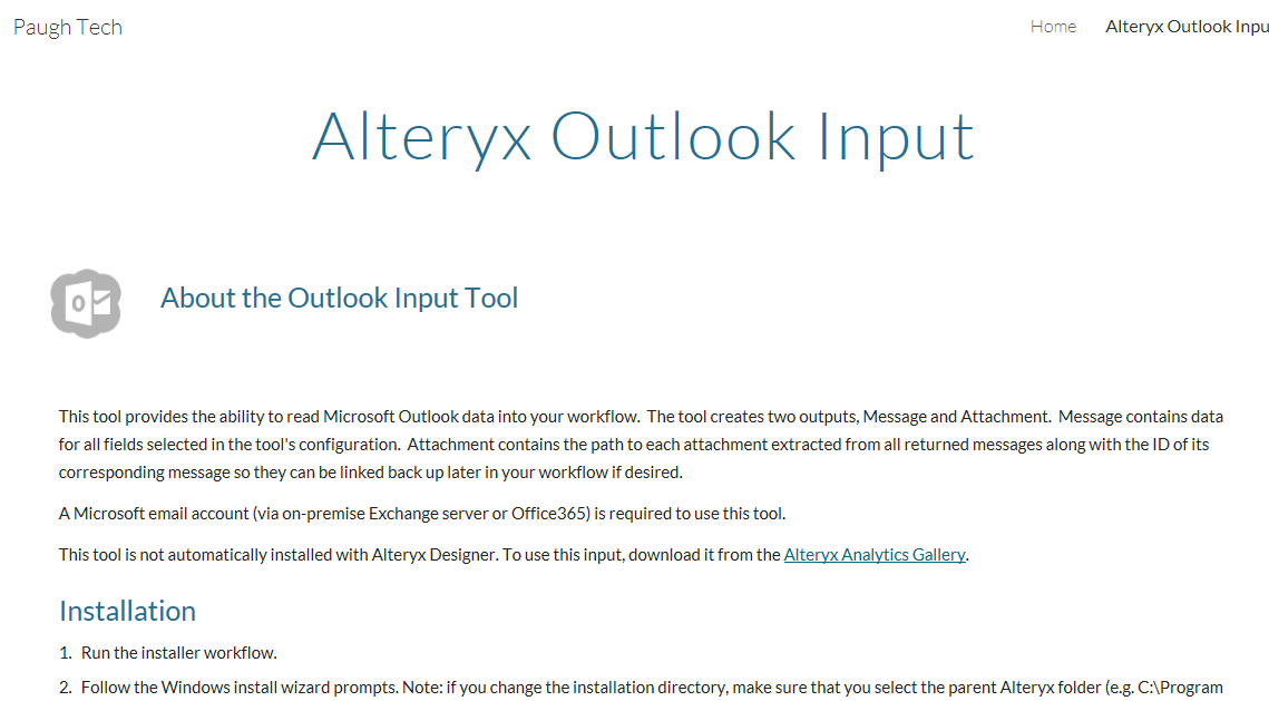 Outlook Input tool Created with the Alteryx SDK - Alteryx