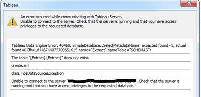 Solved: Publish to Tableau Server- Issues with Alteryx 11
