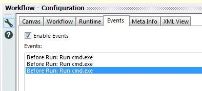 Events tab with all events called the same thing