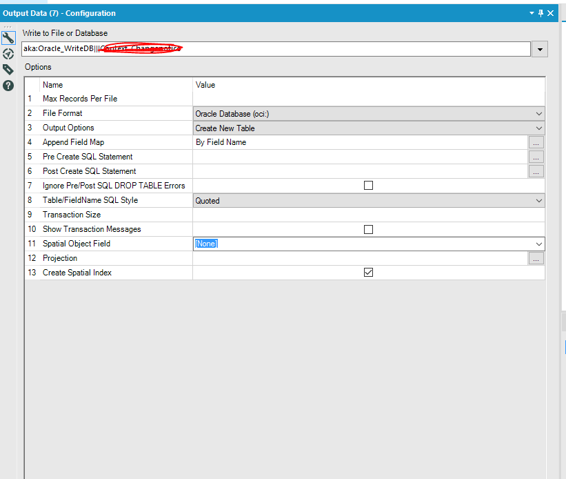 Facing a problem when exporting data into oracle w