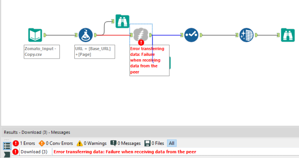 Error transferring data: Failure when receiving da    - Alteryx