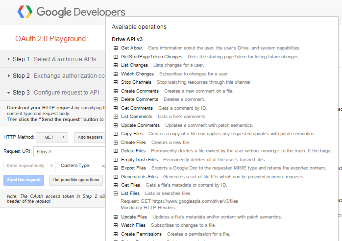 Screenshot of the Google OAuth 2.0 Playground