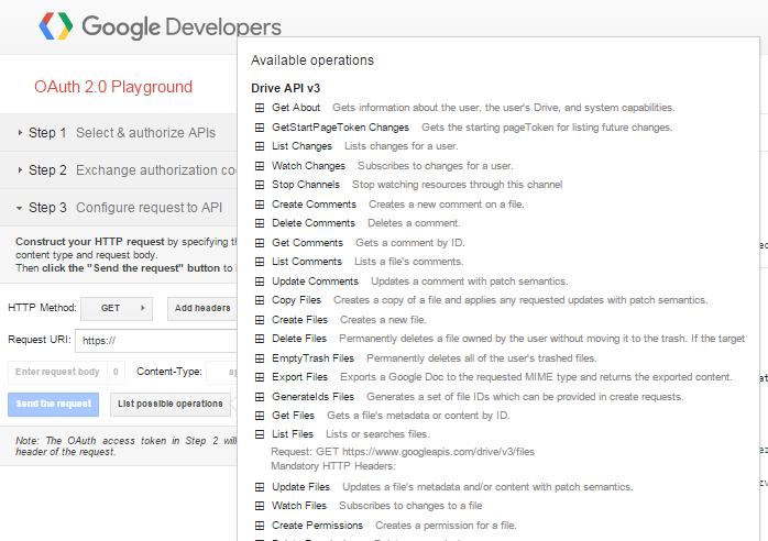 Screenshot of the Google OAuth 2.0 Playground