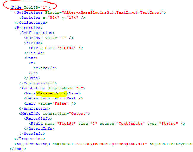 Circled the section where I believe tool IDs come from, Highlighted the <Name> value