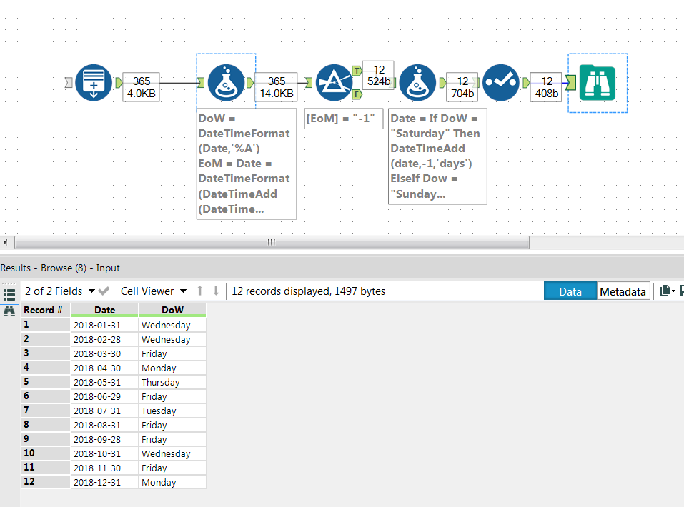 Solved: How to find last month last business day - Alteryx