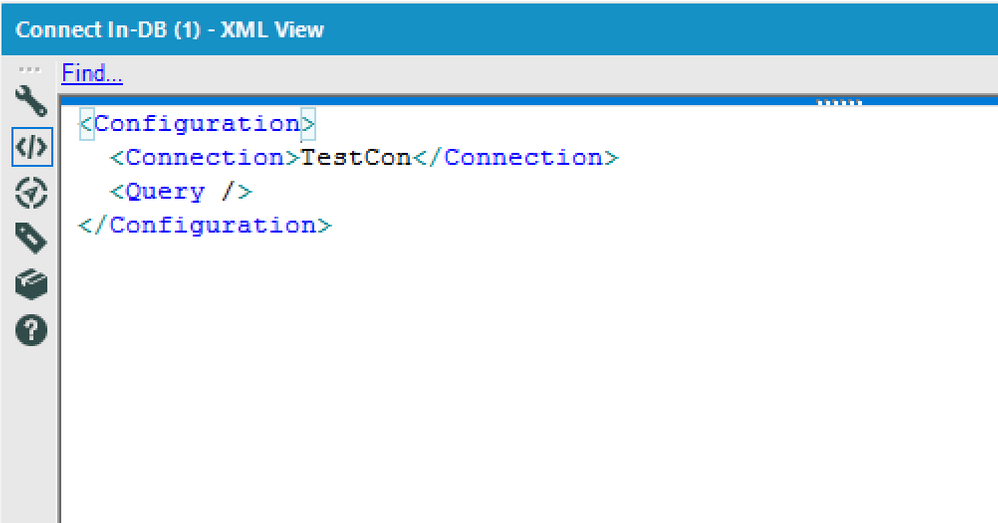"""Here you can see that the in-DB connector only has """"TestCon"""" as connection"""