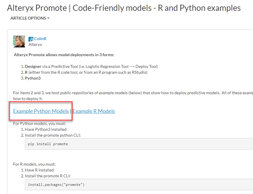 Your First Promote Model - Alteryx Community