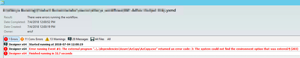 Solved: Event running AzCopy exe occasionally throws an er