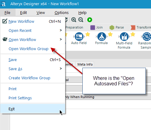 Solved: Open Autosave Files menu option - Alteryx Community